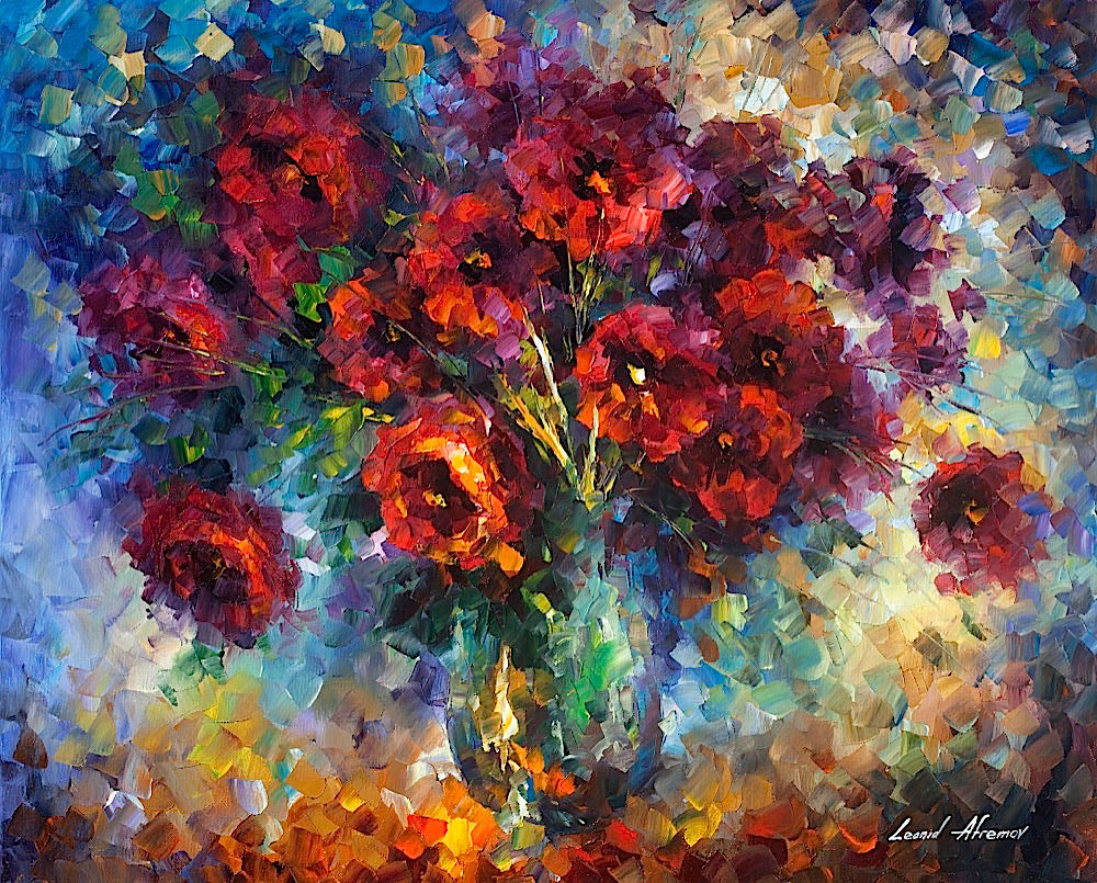 "ROSES IMPRESSION - Palette Knife Oil Painting On Canvas By Leonid Afremov - 60""X48"" (150cm x 120cm)"