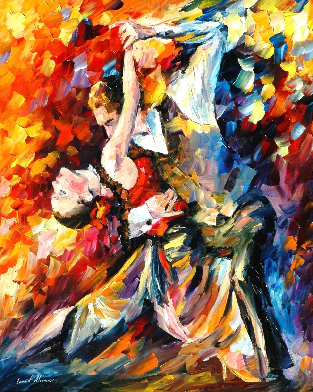 "TANGO IN PARIS —Original  Palette knife Oil Painting  on Canvas by Leonid Afremov  - Size 24""x30"""