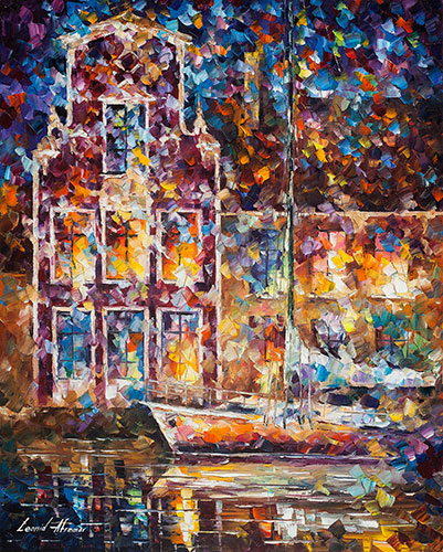 "Docks At Night -  Original Oil Painting On Canvas By Leonid Afremov - 30""X24"""