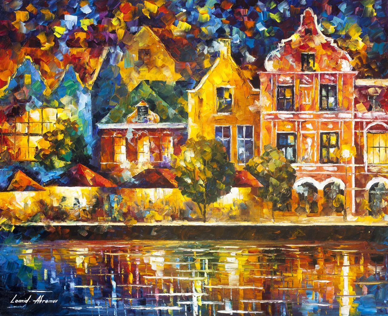 "AMSTERDAM OF MY DREAMS - Original Oil Painting On Canvas By Leonid Afremov - 30""X24"""