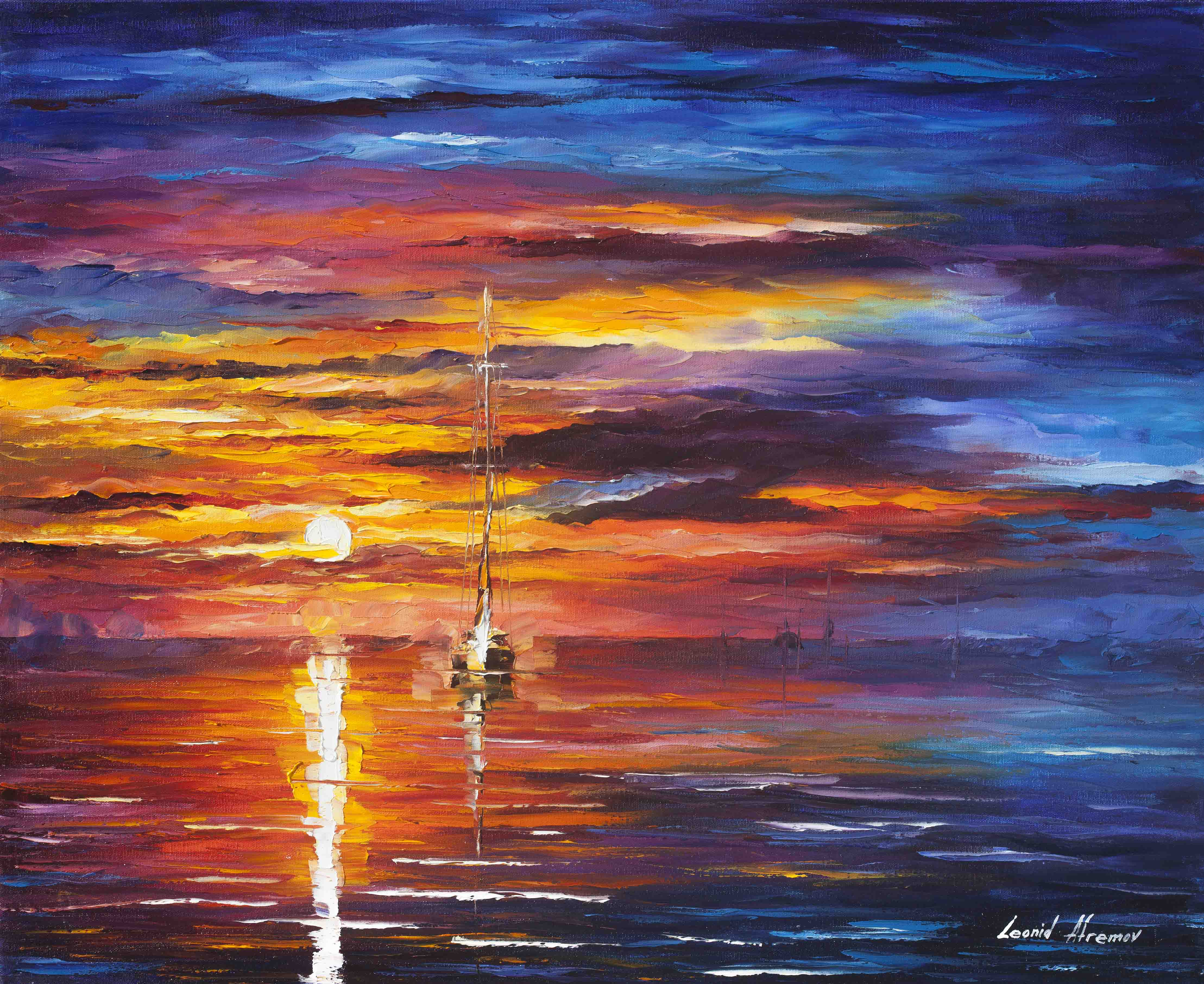 "SKY GLOWS - Original Oil Painting On Canvas By Leonid Afremov - 30""X24"""