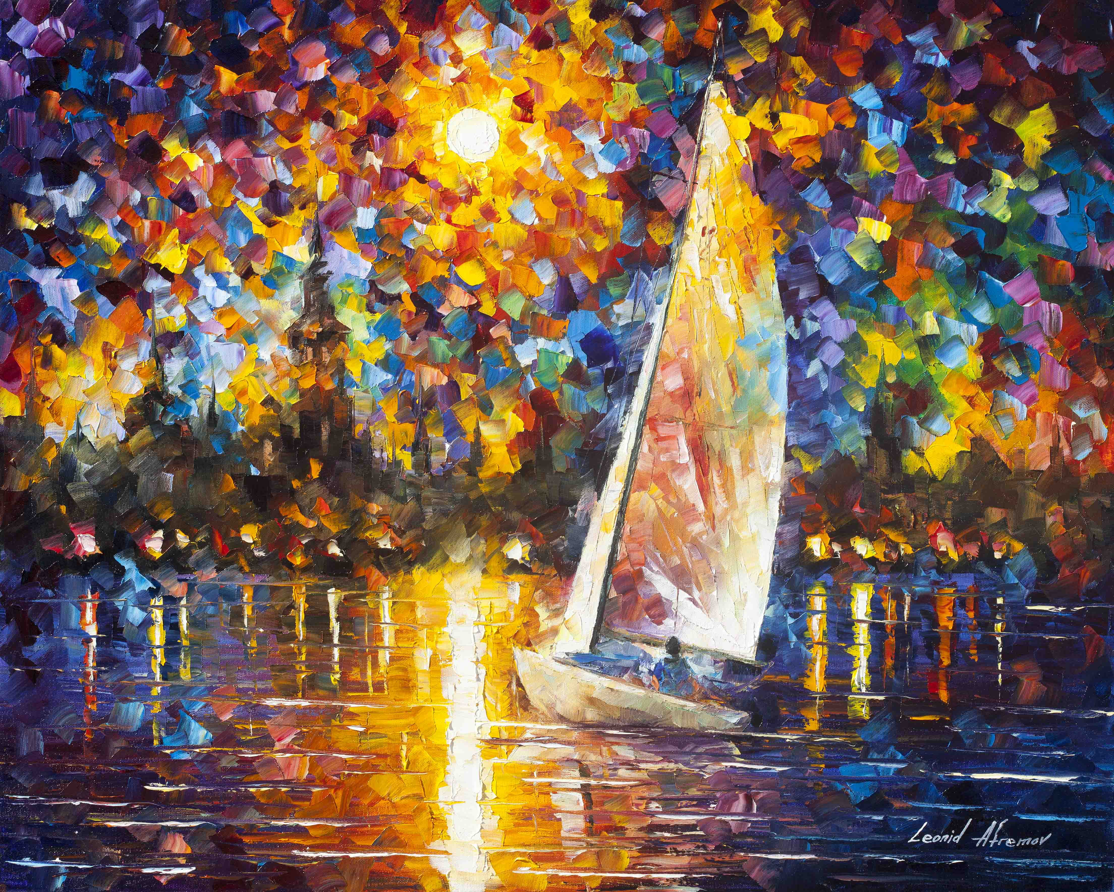"SAILING TO THE SHORE  - Original Oil Painting On Canvas By Leonid Afremov - 30""X24"""