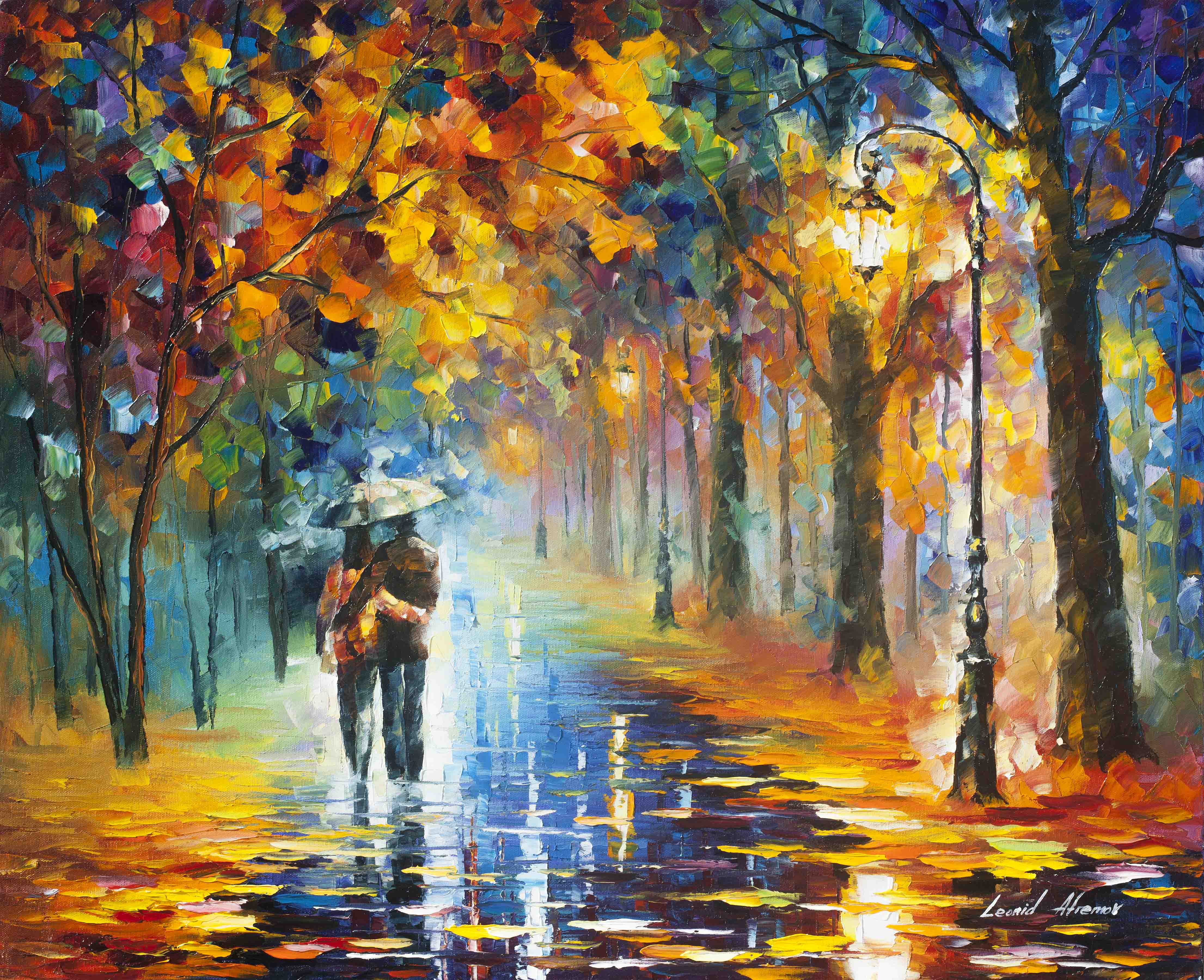 "AUTUMN HUG - Original Oil Painting On Canvas By Leonid Afremov - 30""X24"" (75cm x 60cm)"