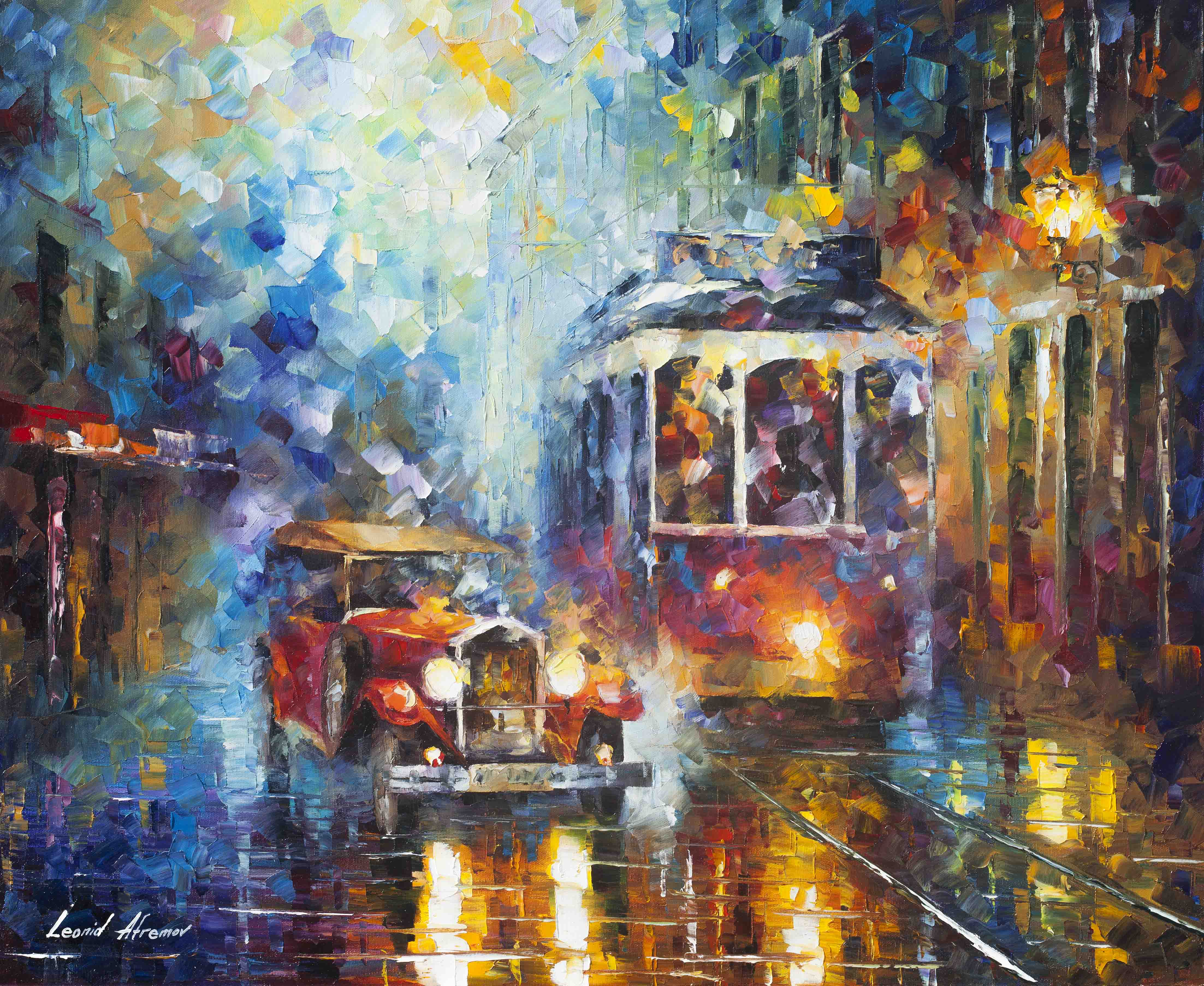 "OLD SAN FRANCISCO - Original Oil Painting On Canvas By Leonid Afremov - 30""X24""  (75CM X 60CM)"
