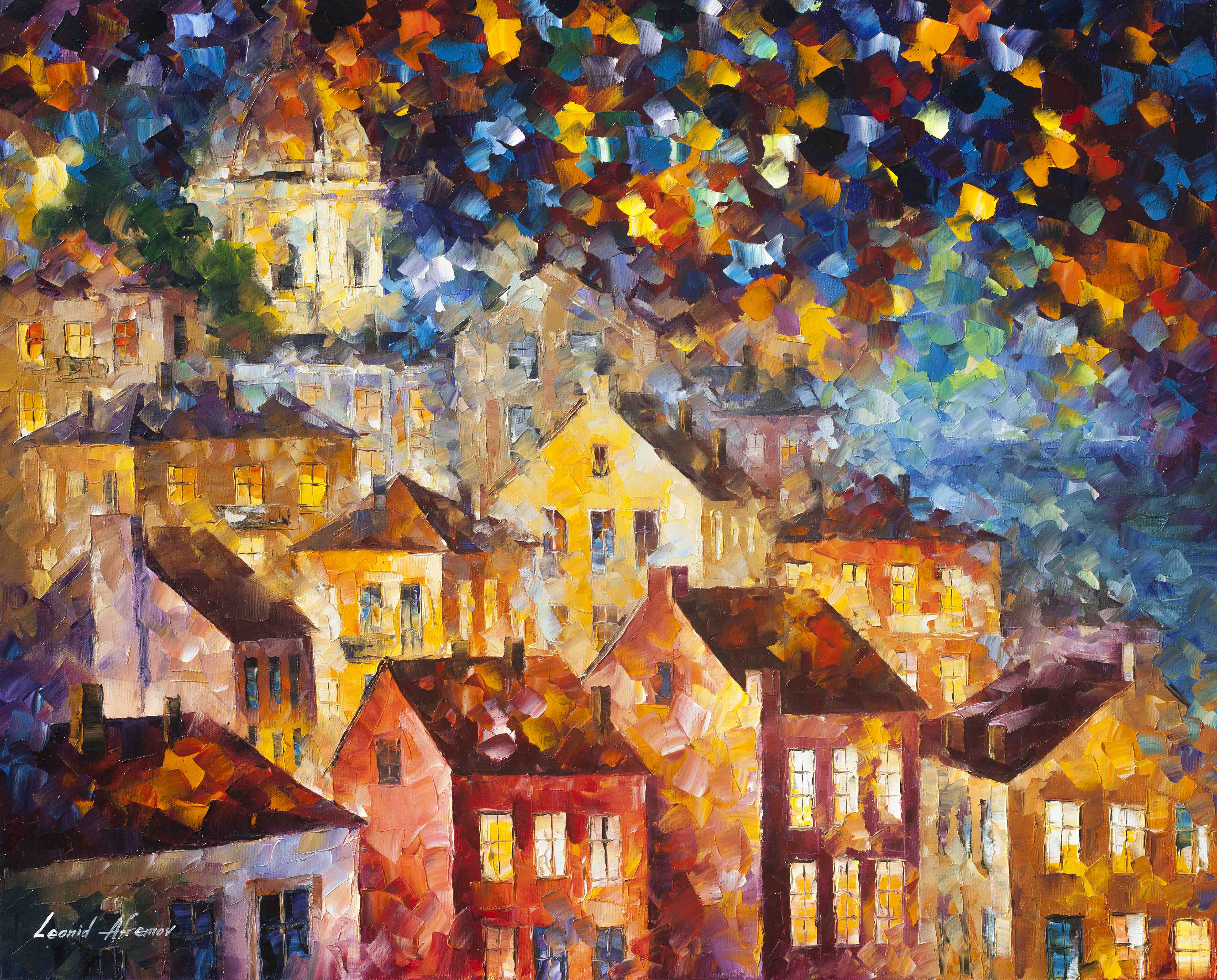 "THE HILLS FROM MY DREAMS  - Original Oil Painting On Canvas By Leonid Afremov - 30""X24""  (75cm x 60cm)"