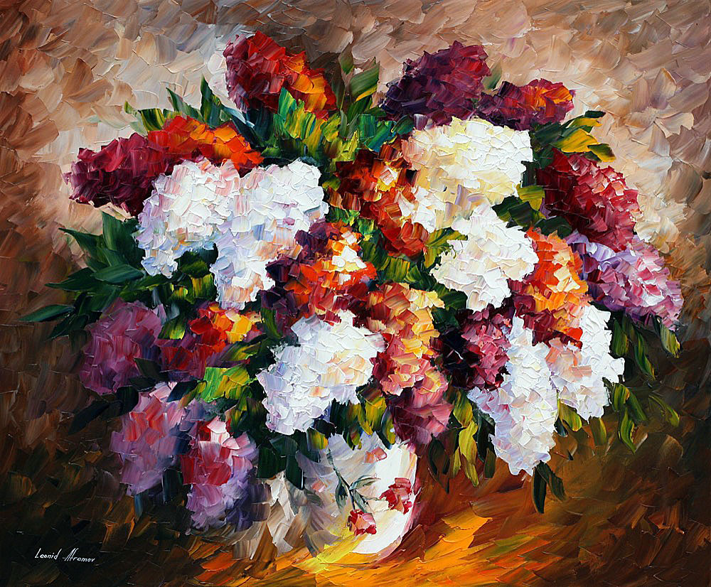 "LILAC FOR MY BELOVED — PALETTE KNIFE Oil Painting On Canvas By Leonid Afremov - Size 36""x30"" (90cm x 75cm)"