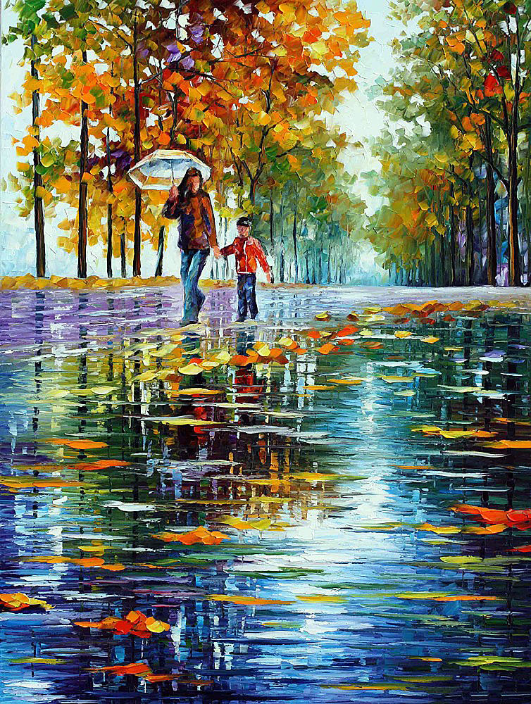 "STROLL IN AN AUTUMN PARK 1 — PALETTE KNIFE Oil Painting On Canvas By Leonid Afremov - Size 40""x30"" (100cm x 75cm)"