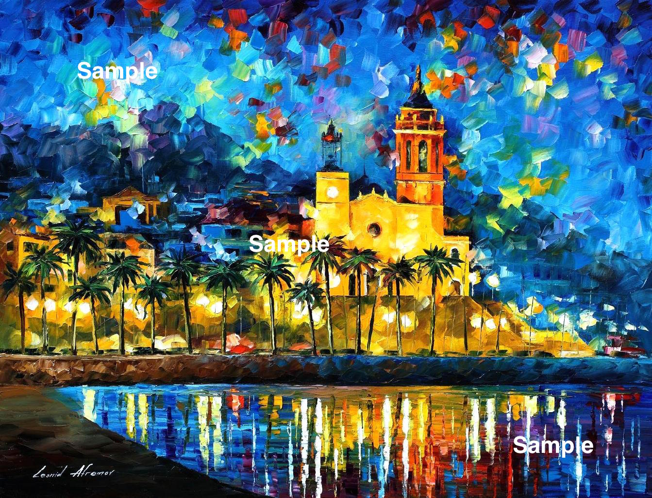 A custom made cityscape/ seascape/ landscape based on your photo by Leonid Afremov, various sizes - stretched