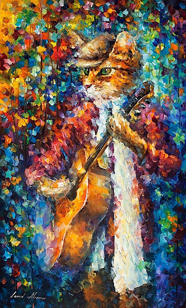 "CAT GUITARIST - Original Oil Painting On Canvas By Leonid Afremov - 24""X40"""