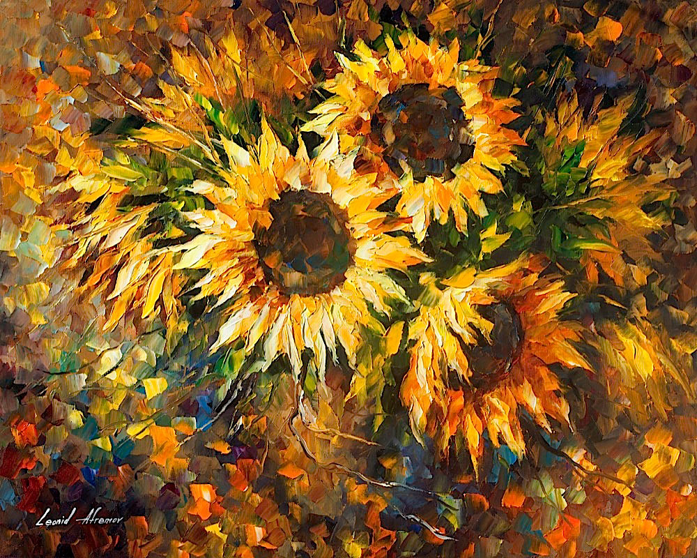 "FRUTY SUNFLOWERS - Original Oil Painting On Canvas By Leonid Afremov - 30""X24"""