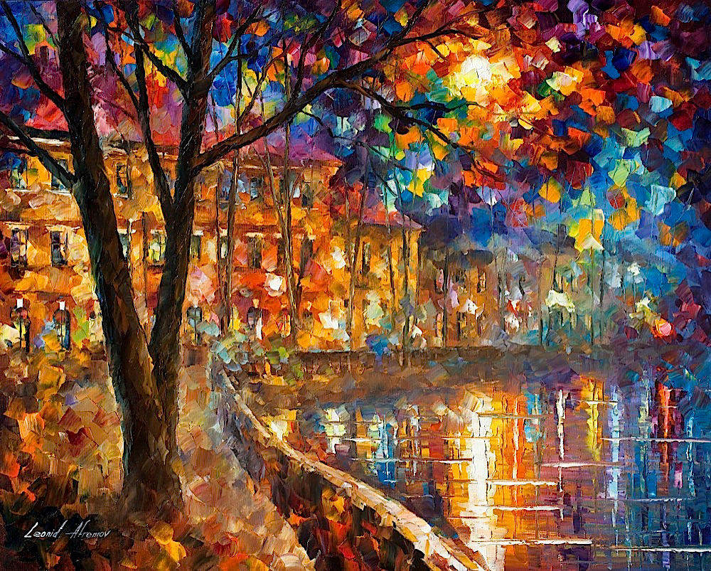 "RIVER OF REGRET  - Original Oil Painting On Canvas By Leonid Afremov - 30""X24"""