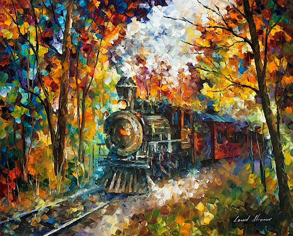 "OLD TRAIN  - Original Oil Painting On Canvas By Leonid Afremov - 30""X24"""