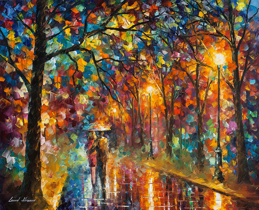 "Walking in the Rain - Original Oil Painting On Canvas By Leonid Afremov - 30""X24"""