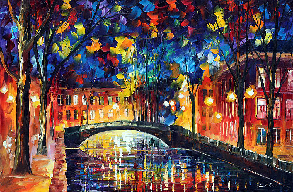 CITY BRIDGE — PALETTE KNIFE Oil Painting On Canvas By ...