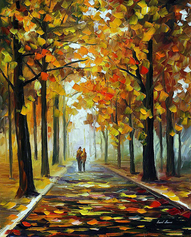 "BRONZE FALL — PALETTE KNIFE Oil Painting On Canvas By Leonid Afremov - Size 30""x24"" (75cm x 60cm)"