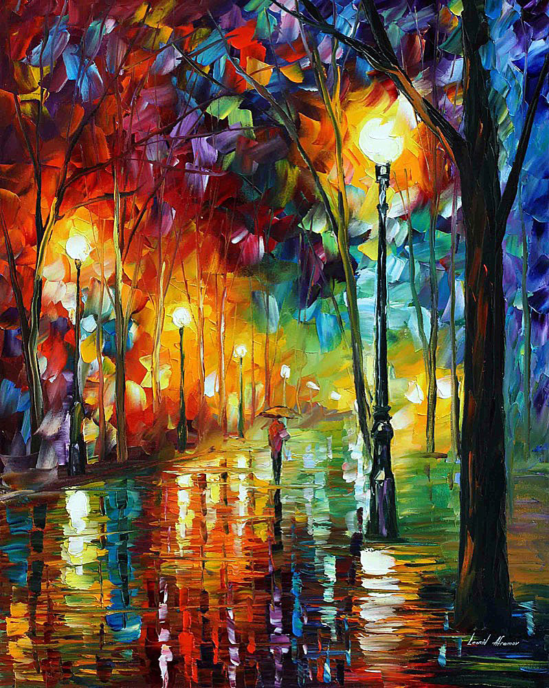 Rainy emotions palette knife oil painting on canvas by for What is canvas painting
