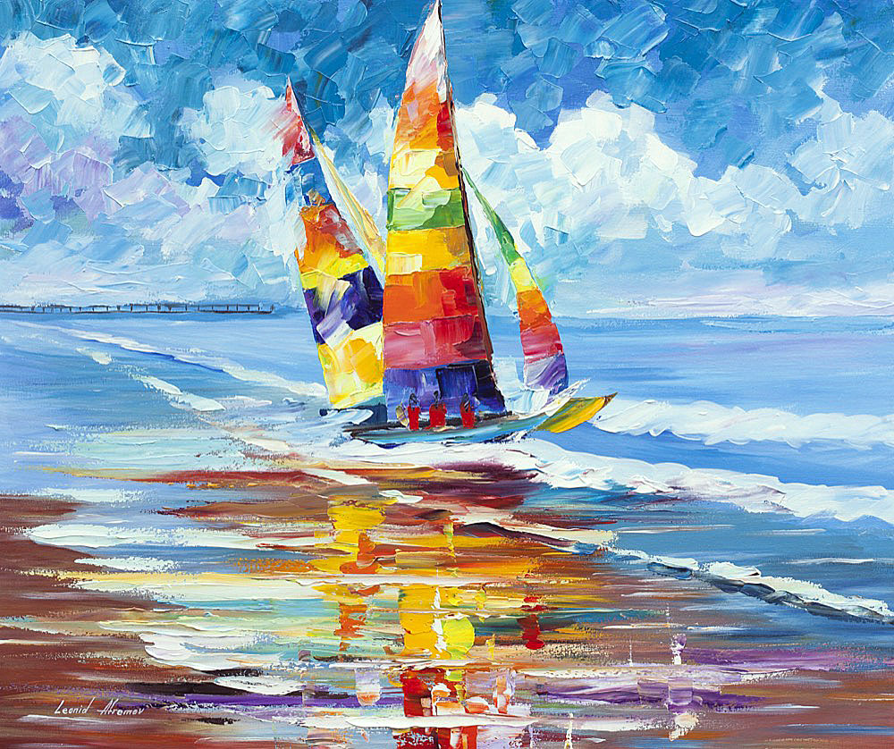 "SHORE OF COLORS — PALETTE KNIFE Oil Painting On Canvas By Leonid Afremov - Size 20""x24"" (50cm x 60cm)"