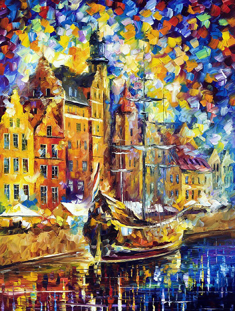 "OLD DOCK — PALETTE KNIFE Oil Painting On Canvas By Leonid Afremov - Size 30""x40"" (75cm x 100cm)"