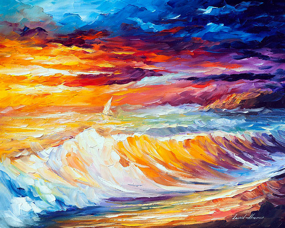 "GOLD WAVES — PALETTE KNIFE Oil Painting On Canvas By Leonid Afremov - Size 24""x30"" (60cm x 75cm)"