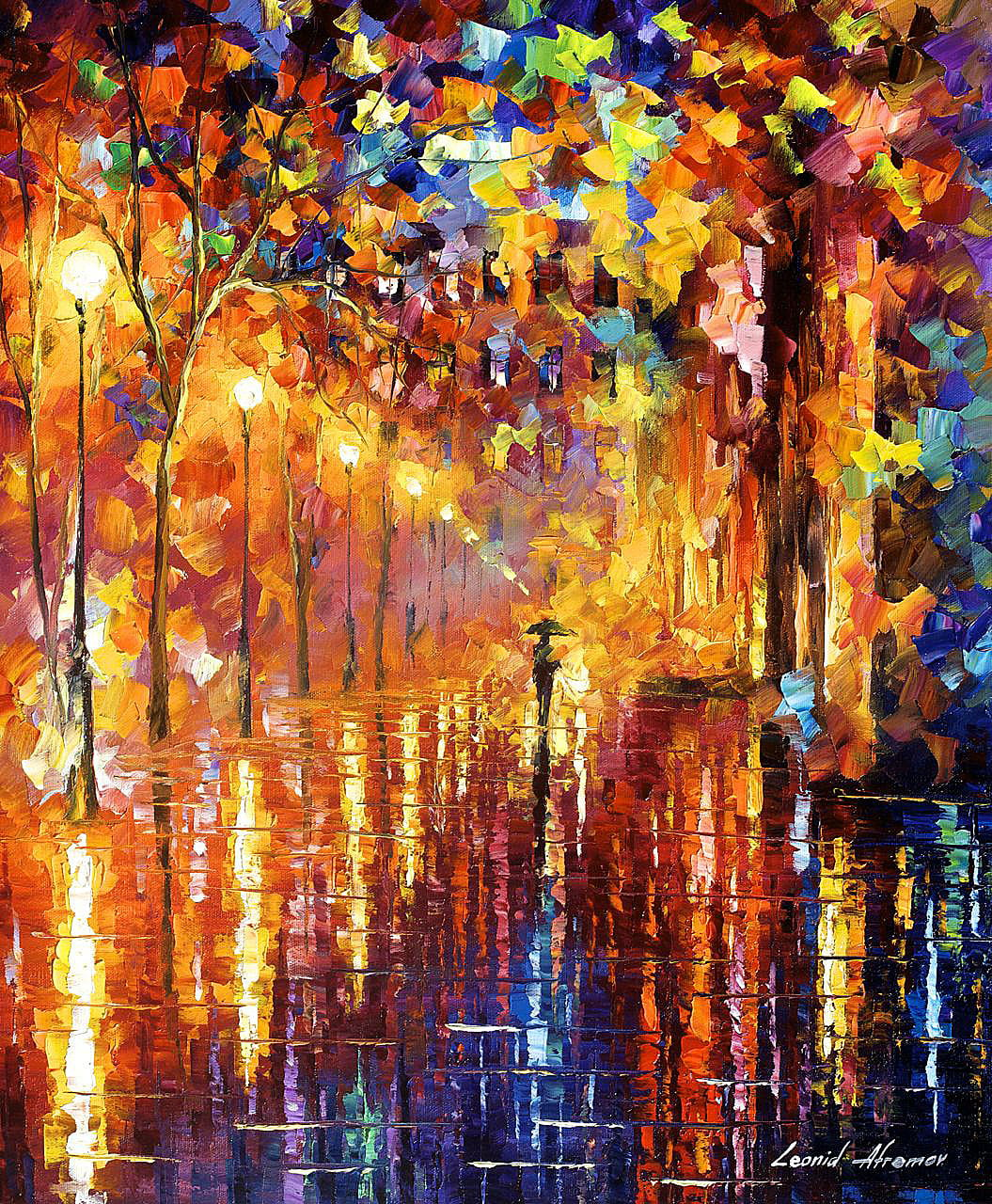 Dreaming rain palette knife oil painting on canvas by for Best mural artists