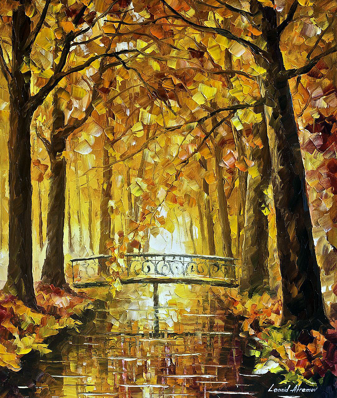 "LONG BEFORE WINTER — PALETTE KNIFE Oil Painting On Canvas By Leonid Afremov - Size 20""x24"" (50cm x 60cm)"