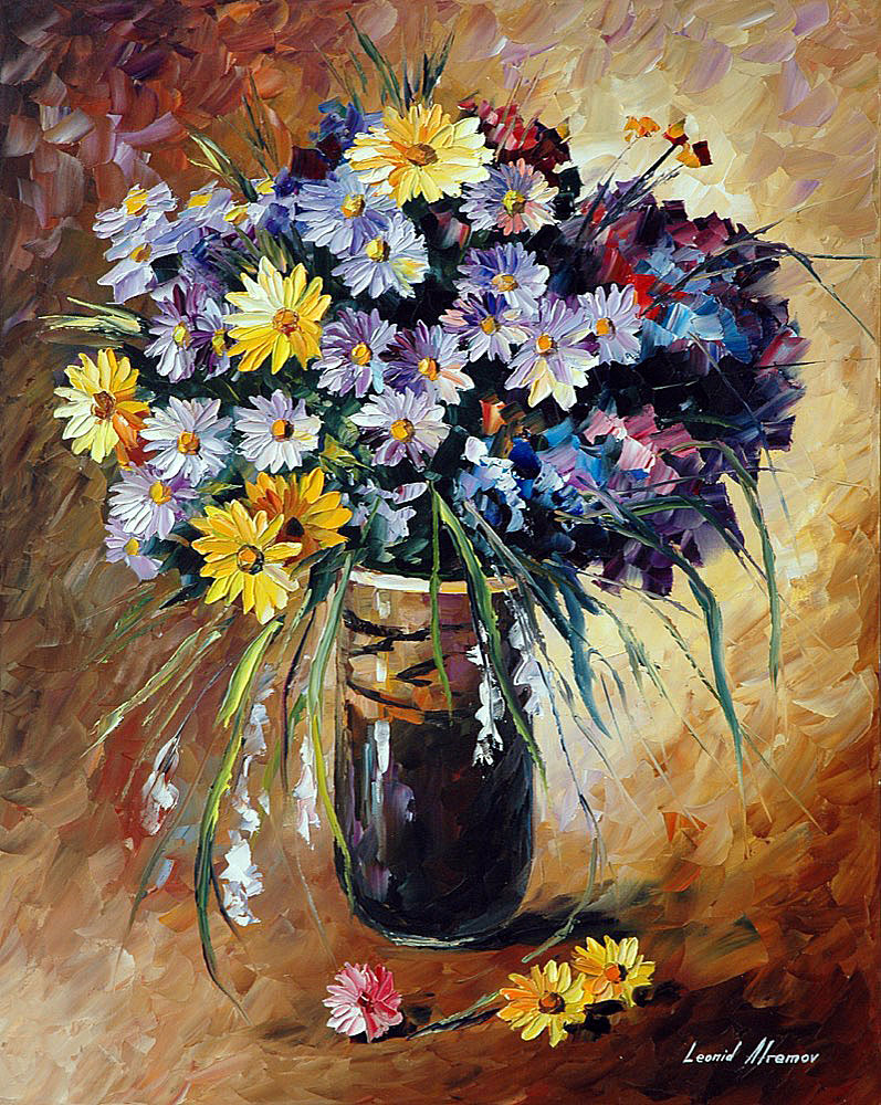 Summer flowers palette knife oil painting on canvas by for Flower paintings on canvas