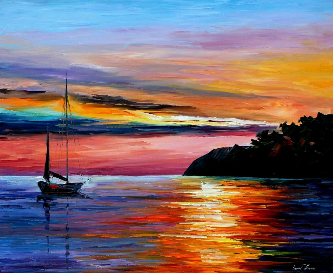WIND OF HOPE PALETTE KNIFE Oil Painting On Canvas By Leonid