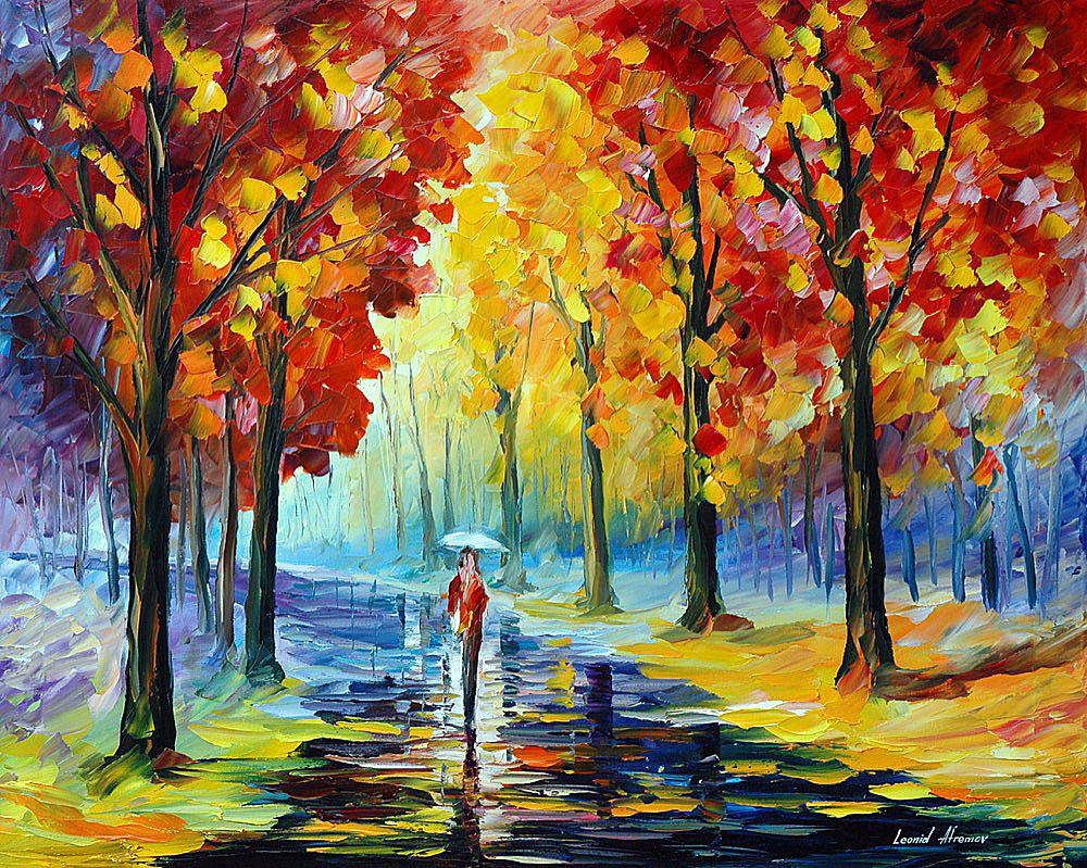 Fall Romance Palette Knife Oil Painting On Canvas By