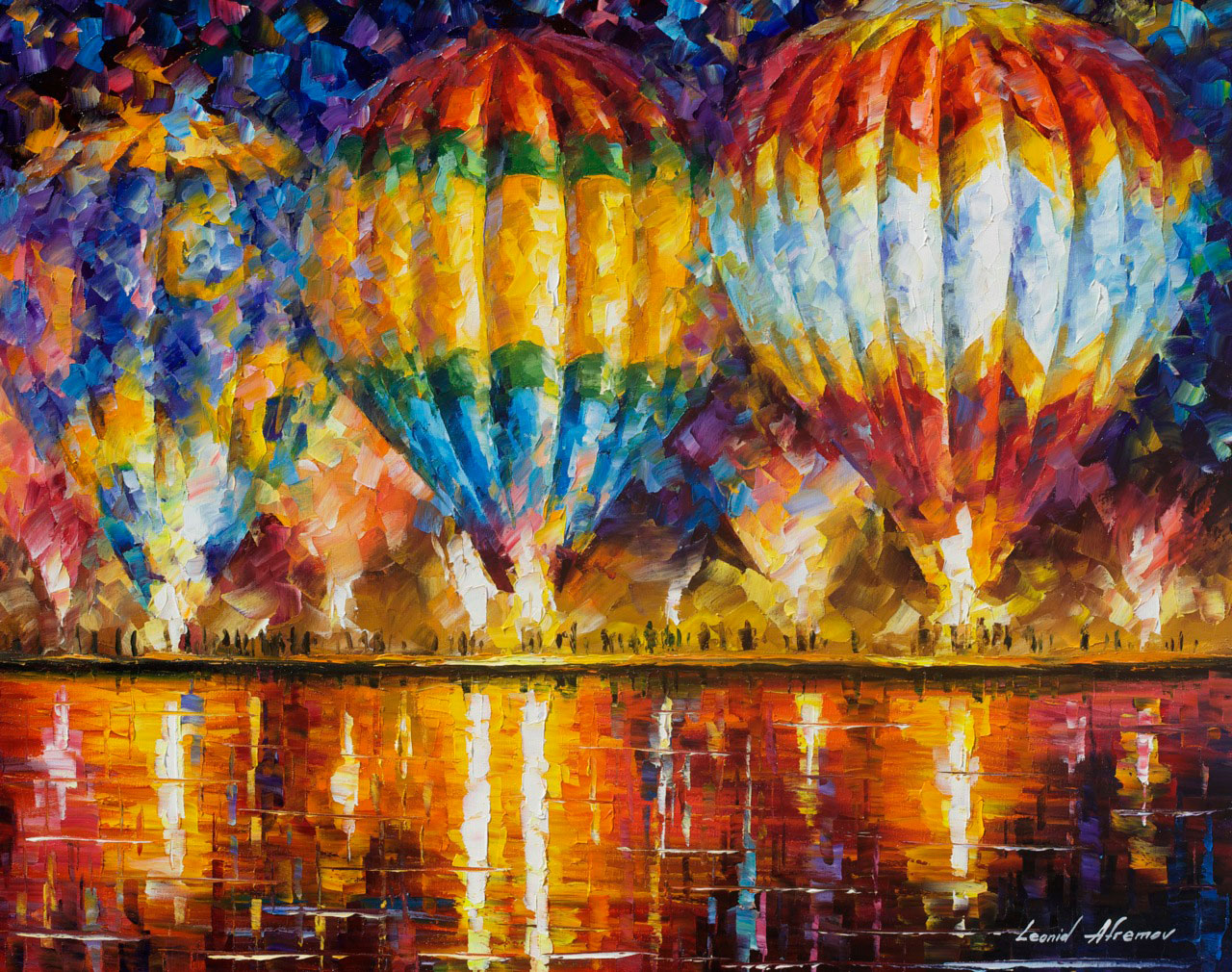"BALLOON REFLECTIONS 3- Original Oil Painting On Canvas By Leonid Afremov - 30""x24"""