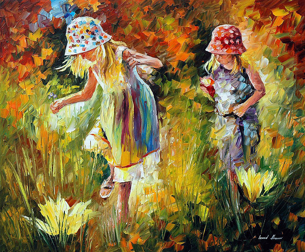 "SISTERS — Original  Oil Painting On Canvas By Leonid Afremov - Size 36""x30"" (90cm x 75cm)"