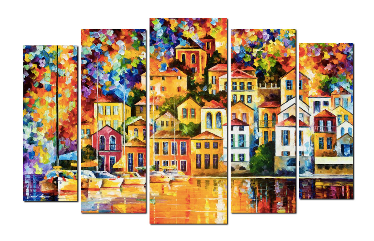 "CITY OF THE DREAM —SET OF 5 PAINTINGS Original Oil Paintings On Canvas By Leonid Afremov - Size 40""x96"""