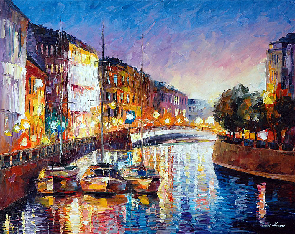 CHARMING RIVER — PALETTE KNIFE Oil Painting On Canvas By ... - photo#13