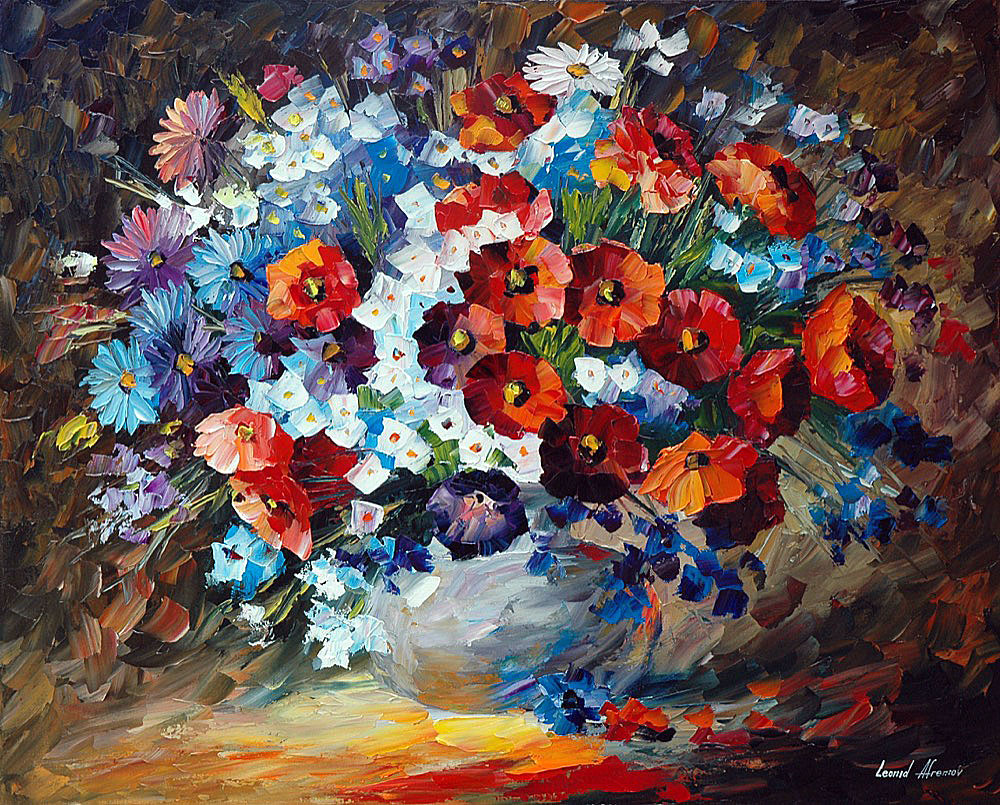 "POPPIES AND CORNFLOWERS — PALETTE KNIFE Oil Painting On Canvas By Leonid Afremov - Size 24""x30"" (60cm x 75cm)"