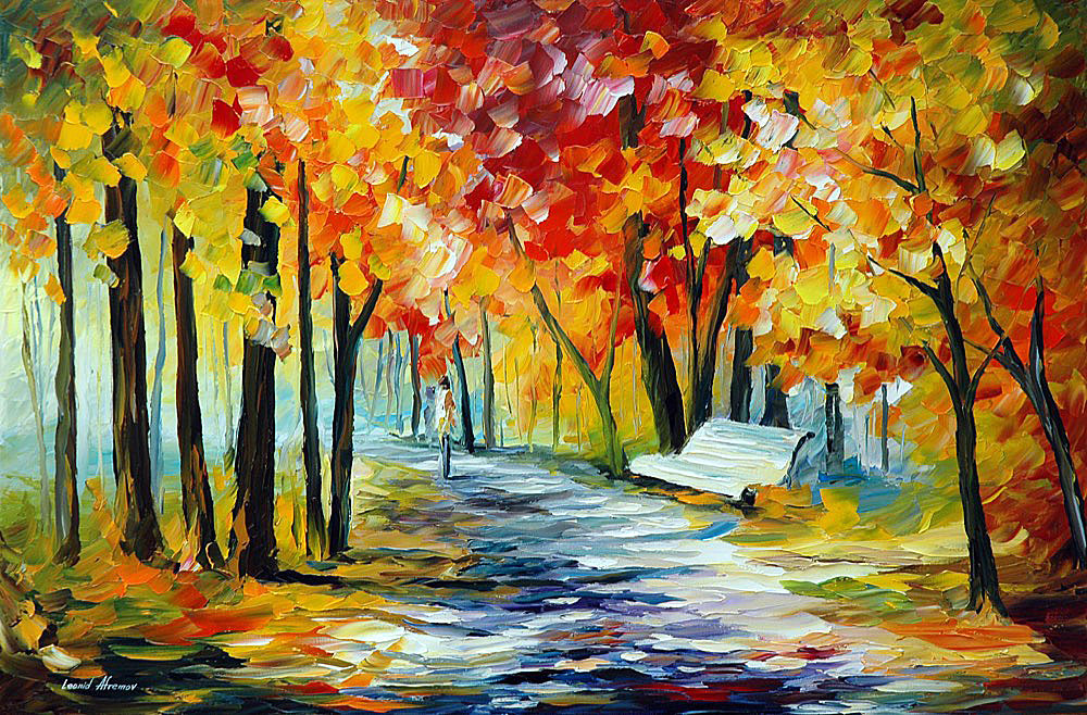 SUNNY BENCH — PALETTE KNIFE Oil Painting On Canvas By ...