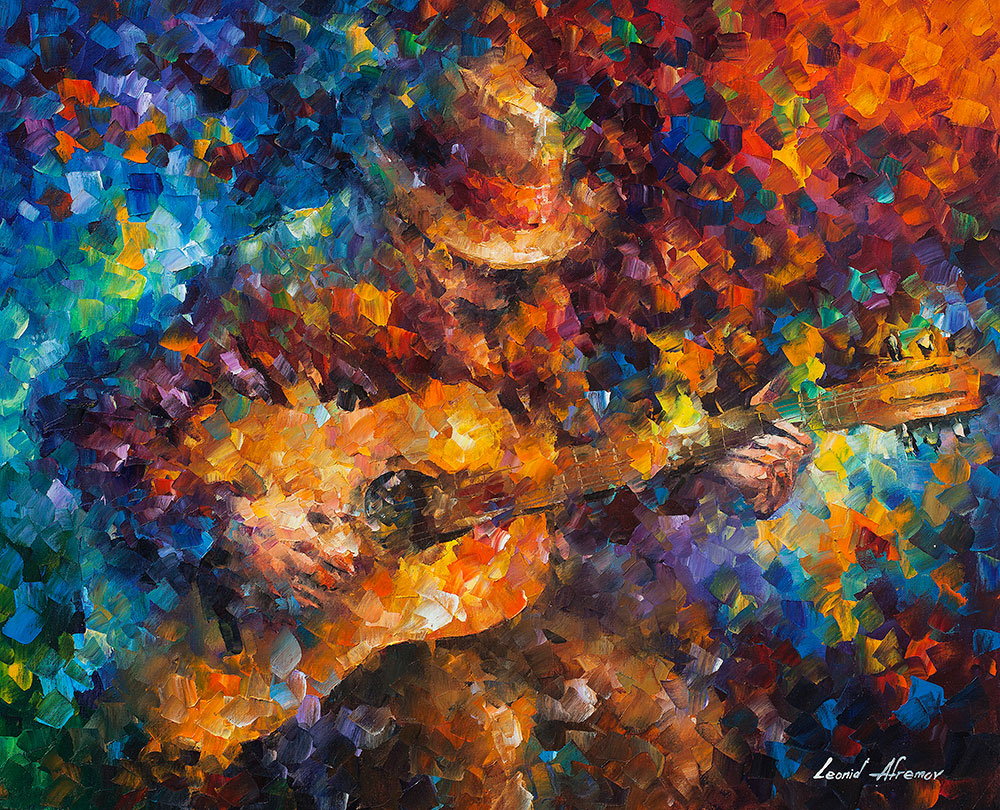 "Guitar Ballad - Original Oil Painting On Canvas By Leonid Afremov - 30""X24"""