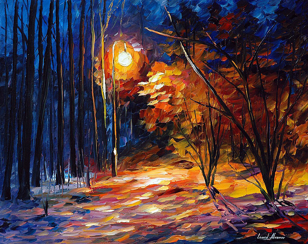 Shadows on snow palette knife oil painting on canvas by for What paint for canvas