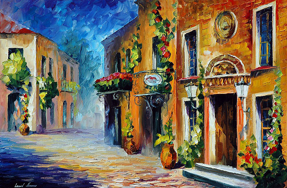 Italian Noon Palette Knife Oil Painting On Canvas By