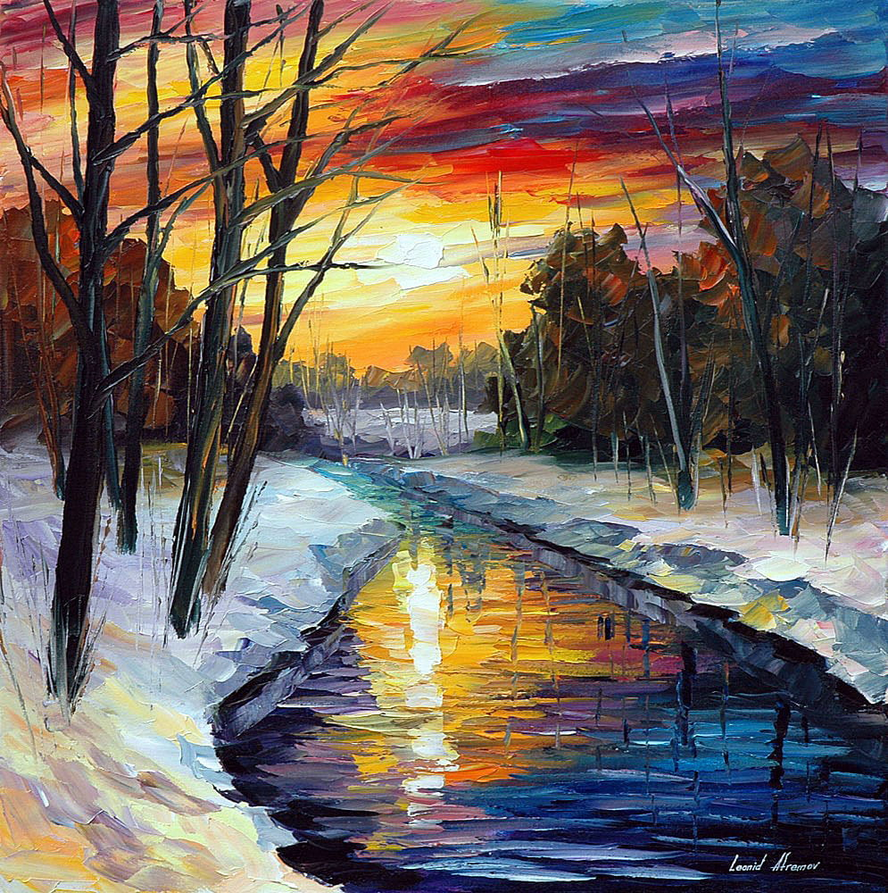 winter 1 palette knife oil painting on canvas by leonid. Black Bedroom Furniture Sets. Home Design Ideas