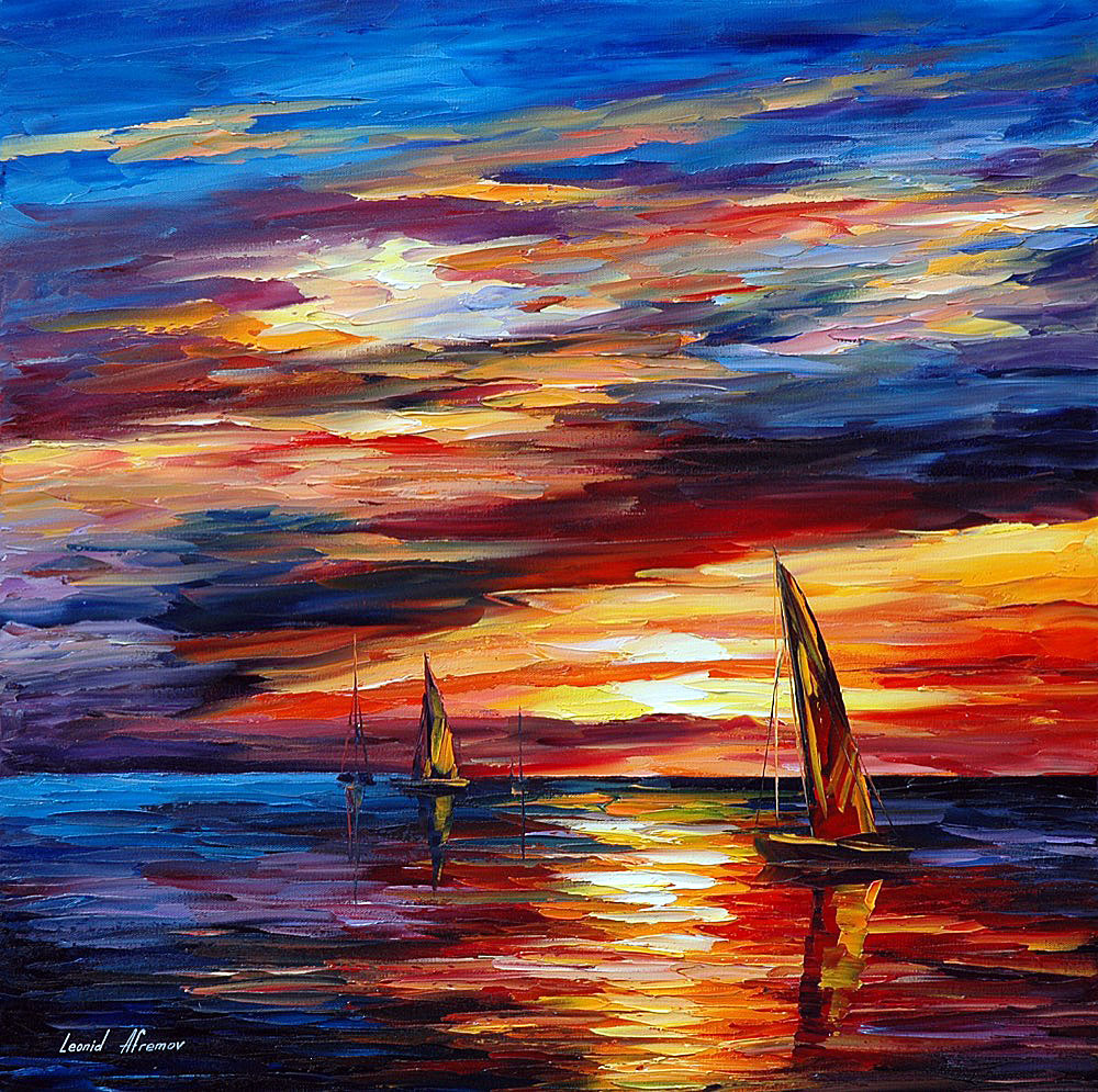 SCARLET SAILS PALETTE KNIFE Oil Painting On Canvas By