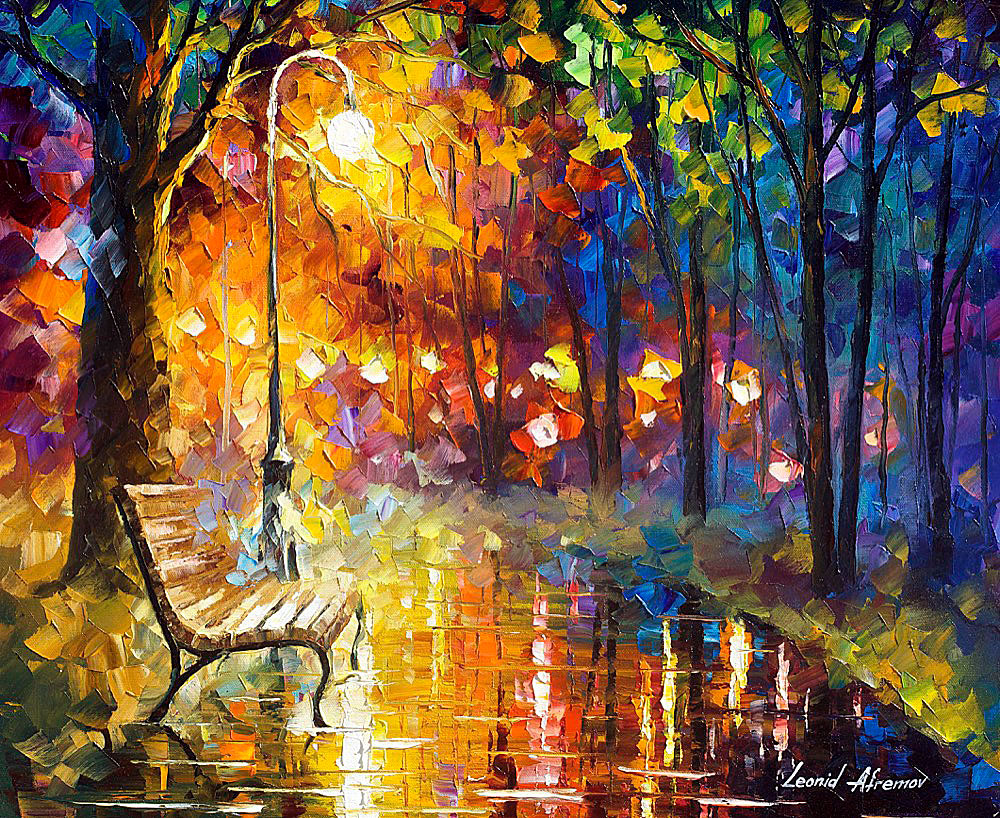 EMPTY BENCH — PALETTE KNIFE Oil Painting On Canvas By ...