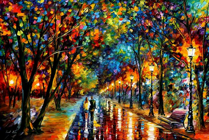 "WHEN DREAMS COME TRUE — PALETTE KNIFE Oil Painting On Canvas By Leonid Afremov - Size 29""x22"""