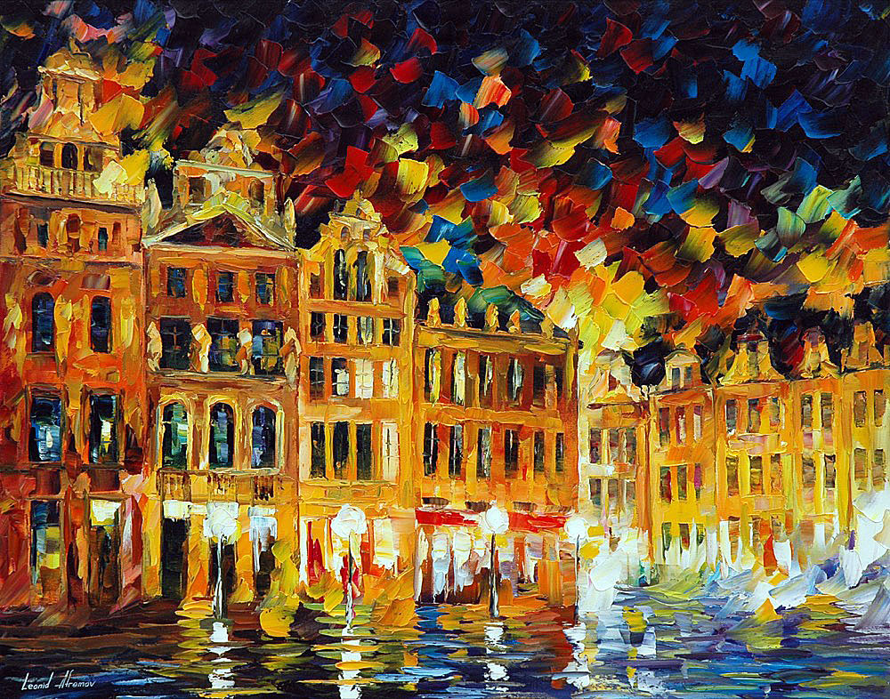 Belgium Brussels Palette Knife Oil Painting On Canvas