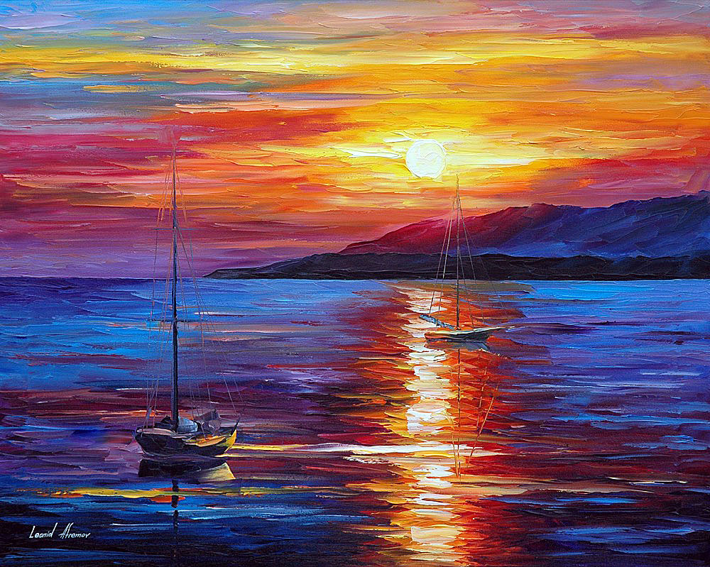 Calm Sunset Palette Knife Oil Painting On Canvas By