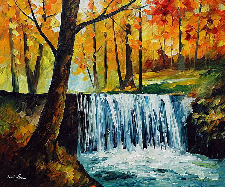 waterfall palette knife oil painting on canvas by leonid