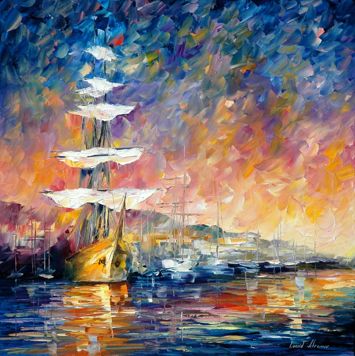 sailboats in sunrise palette knife oil painting on canvas by