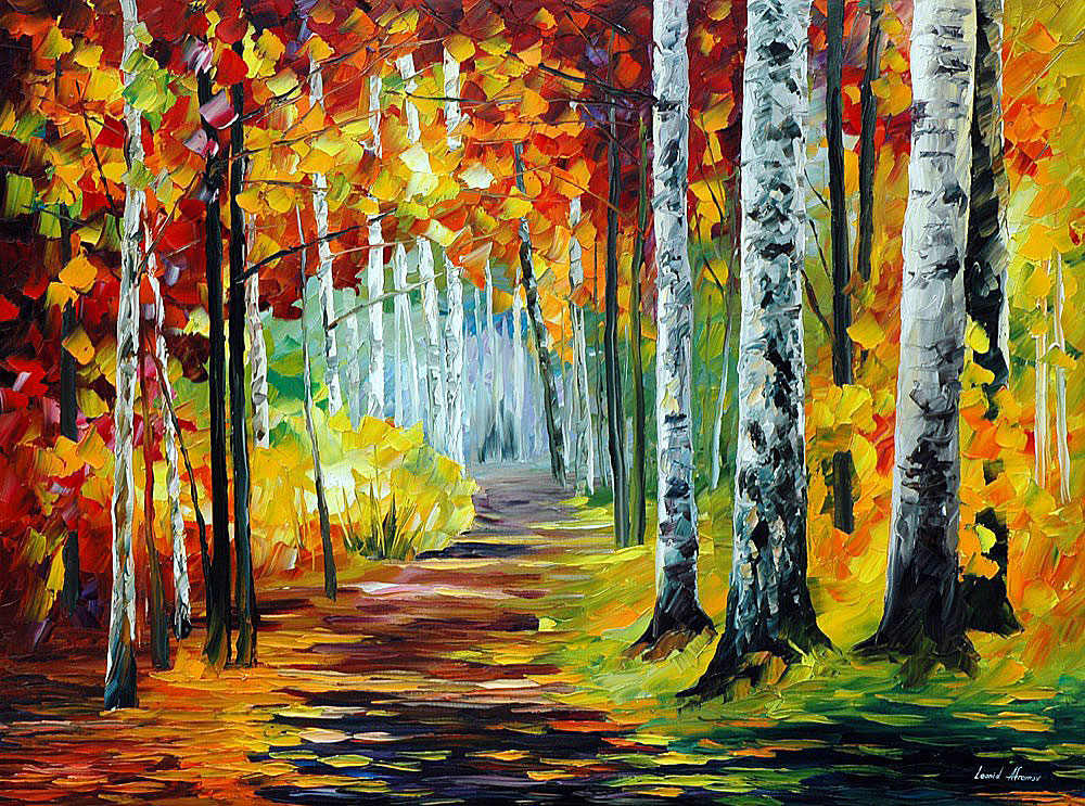 Sunny October Palette Knife Oil Painting On Canvas By