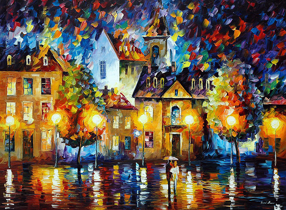9d0baa91d6c LUXEMBOURG NIGHT — PALETTE KNIFE Oil Painting On Canvas By Leonid ...