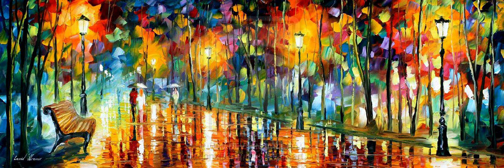 "PARK OF MY LOVE — PALETTE KNIFE Oil Painting On Canvas By Leonid Afremov - Size 25""x15""(60cm x 35cm)"