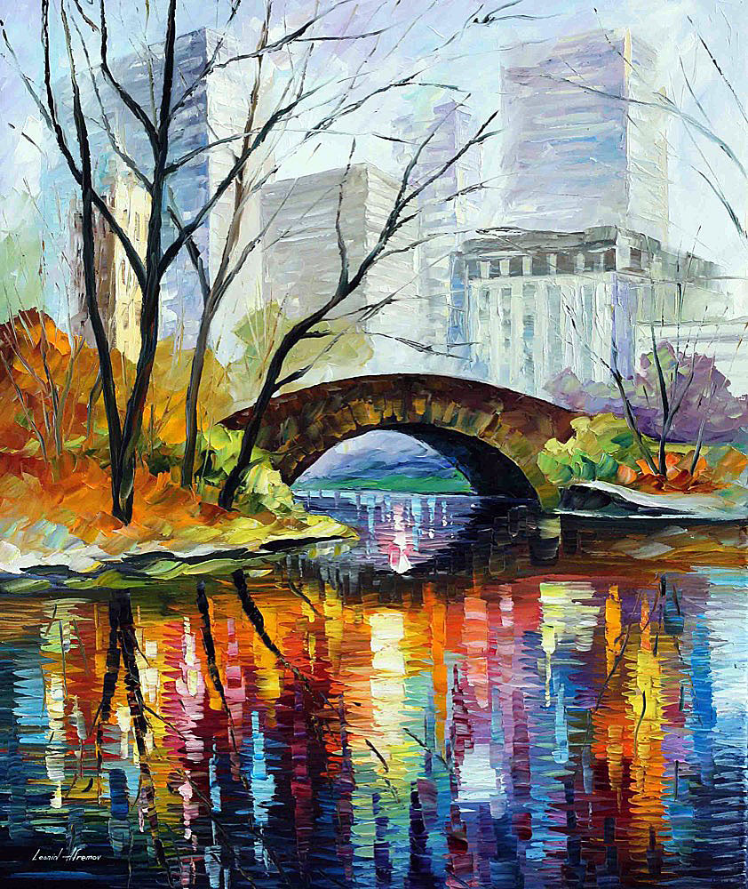 Central Park New York Palette Knife Oil Painting On Canvas By Leonid Afremov