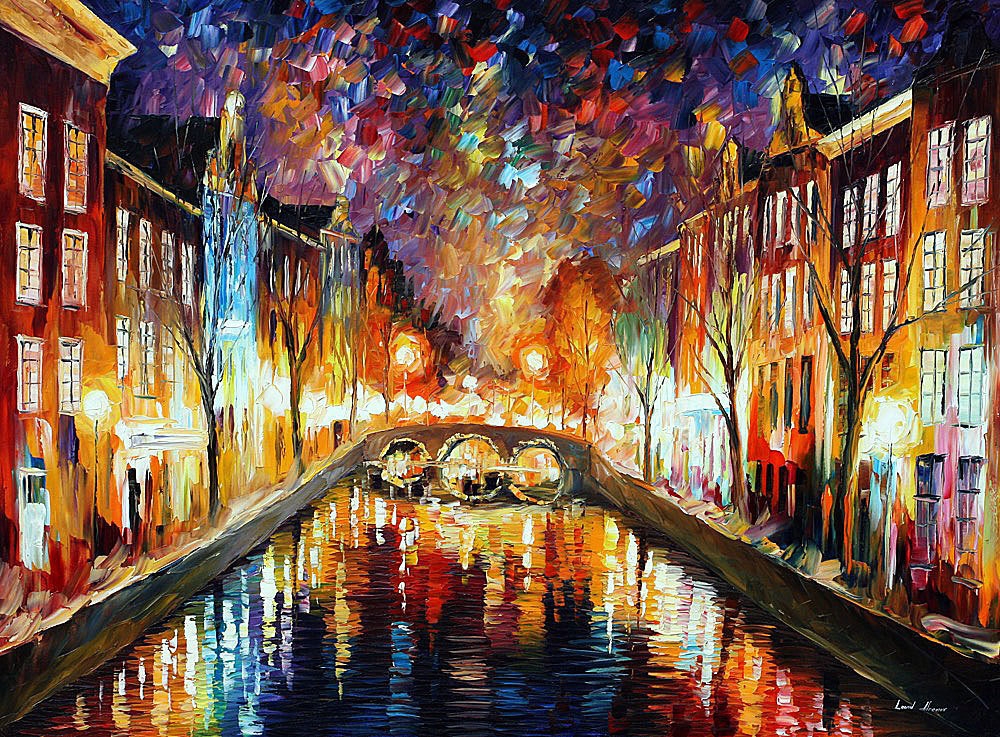 "NIGHT AMSTERDAM — PALETTE KNIFE Oil Painting On Canvas By Leonid Afremov - Size 48""x36"""